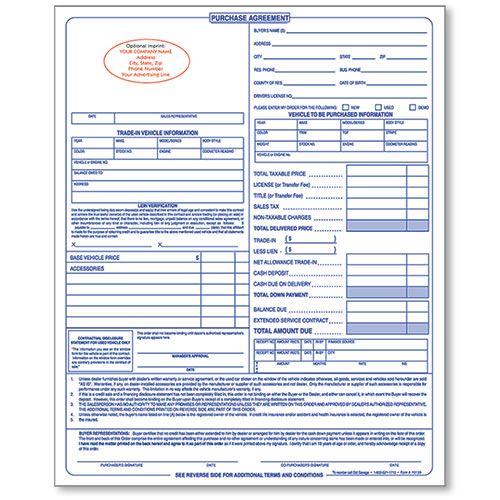 Personalized Dealer Forms Car Sale Agreement Custom