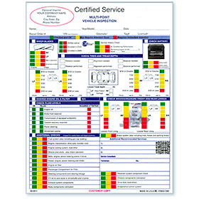 Custom Imprinted GM Vehicle Inspection Forms
