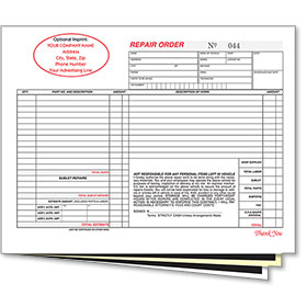 Custom Imprinted Mechanical Repair Order