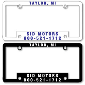 1 1/2 Inch Panel - One Color License Plate Frames