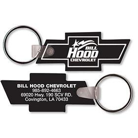 Two Sided Custom Soft Vinyl Key Tags - Chevy Logo Shape