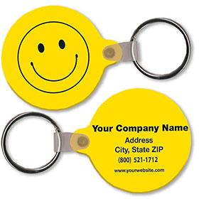 Two Sided Custom Soft Vinyl Key Tags - Smiley Shape