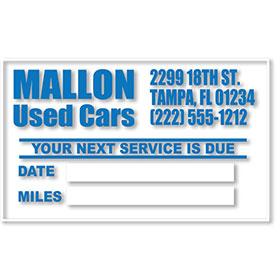 Custom Imprinted Standard Oil Change Reminder Clings
