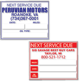 Custom Imprinted Oil Change Reminder Clings with Oil Type