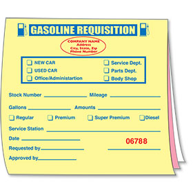 Custom Imprinted Gasoline Requisition Book