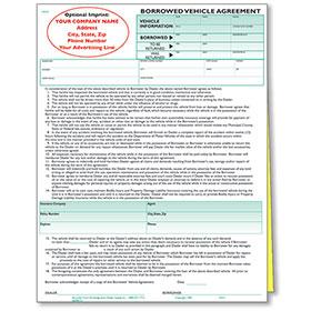 Custom Imprinted Borrowed Vehicle Agreements