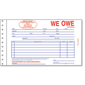Custom Imprinted R & R® Compatible We Owe Forms