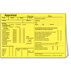 4 x 6 inch Appraisal Forms