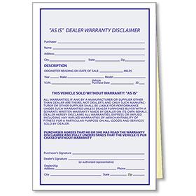 As-Is Dealer Warranty Disclaimer