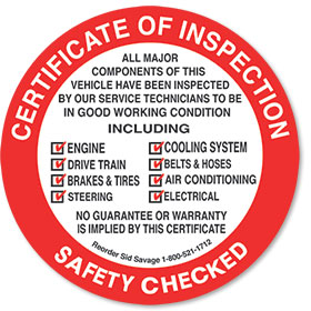 Rear Adhesive Safety Inspection  Sticker