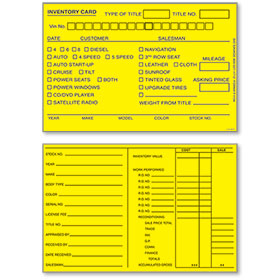 Yellow 4 x 6 inch Inventory Cards