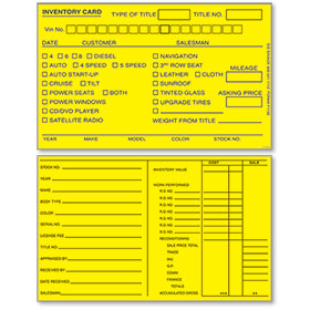 Yellow 5 x 8 inch Inventory Cards
