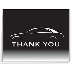 Thank You Card-Black & White Car