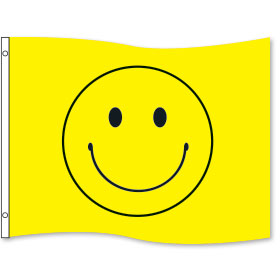 Yellow Smiley Rectangle Flags 3 x 5ft