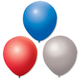 17Inch Red Silver Blue Balloons