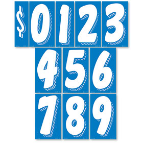 White and Blue 7 1/2 inch Peel & Stick Windshield Numbers