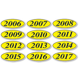 Black and Yellow Oval Year Stickers