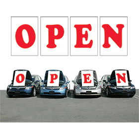 Red OPEN Under the Hood Sign