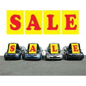 Yellow and Red SALE Under the Hood Sign