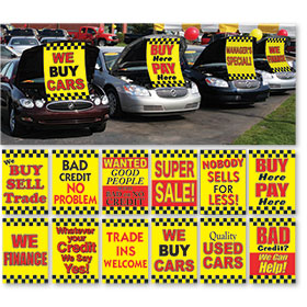 Under the Hood Display Signs (Yellow-Black-Red)