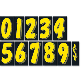 Black and Yellow 7 1/2 inch Pricing Number Kit