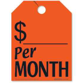Red Per Month Fluorescent Rear View Mirror Tags
