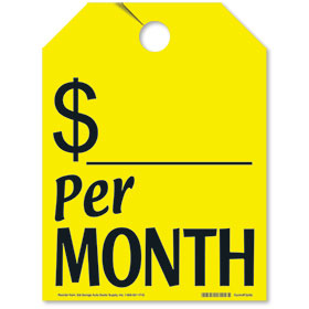 Yellow Per Month Fluorescent Rear View Mirror Tags