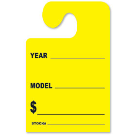 Fluorescent Yellow YEAR-MODEL-$ Hook Rear View Mirror Tags