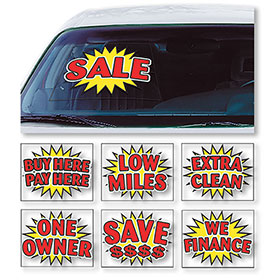 Bright Burst Static Cling Windshield Signs