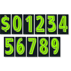 Chartreuse and Black 7 1/2 inch Budget Pricing Number Kit
