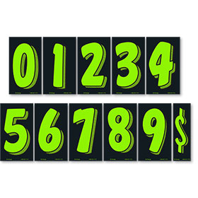 Chartreuse and Black 7 1/2 inch Pricing Number Kit