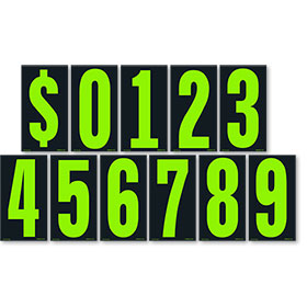 Chartreuse and Black 5 1/2 inch Pricing Numbers