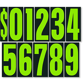 Chartreuse and Black 9 1/2 inch Pricing Numbers