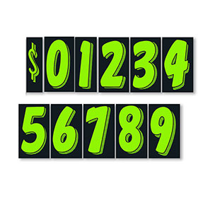 Chartreuse and Black 11 1/2 inch Pricing Numbers