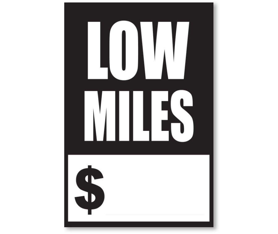 Black and White Quick Sale Stickers-Low Miles