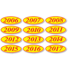 Red and Yellow Oval Year Stickers