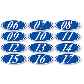 Blue Oval 2-Digit Stickers