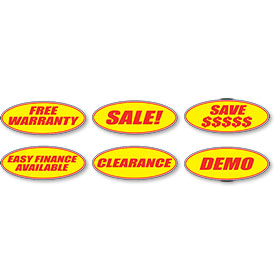 Red and Yellow Oval Slogan Stickers