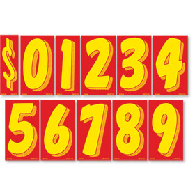 Red and Yellow 11 1/2 inch Pricing Number Kit
