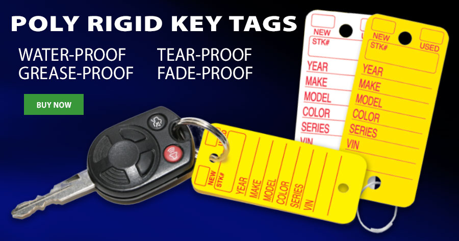 Waterproof, tear-proof, grease-proof and more. Our Poly Rigid Key Tags are built to last!