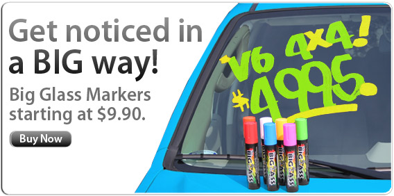 Get noticed in a BIG way with these Big Glass Markers!