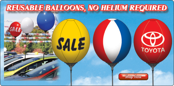 Attract attention to your car lot with our Reusable Balloons!