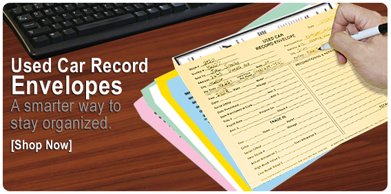 Used Car Record envelopes for auto dealers.